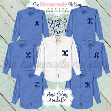 Bridal party oxford button down shirts