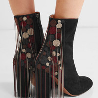 Chloé - Liv beaded suede ankle boots