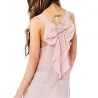 Chiffon Coletta Bow Tank in Blush - ShopSosie.com
