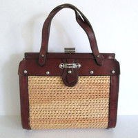 1970s Leather and Straw Purse Structured Handbag With Silver Metal Hardware