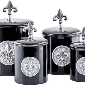 Canister Set Storage Canister 4PC Stainless Elegant Kitchen Steel Black NEW