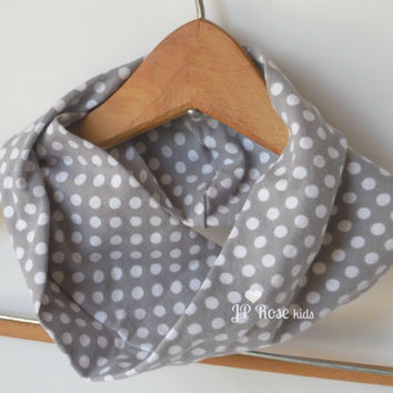 Baby Infinity Scarf, Grey with White Polka Dots, Jersey Drool Scarf for Toddlers, Gender Neutral, Childs Scarf, Size 12 mos, 2T, 3T, 4T, 5/6