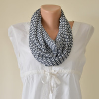 Fashion Scarf, Circle Scarf, Gray-Blue Little Dogs Patterned Infinity Scarf, Lightweight Scarf, Feminine, Gift Ideas for Her