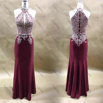 Sparkly Sequin Mermaid Prom Dresses 2016 Floor-Length Halter Burgundy robe de soiree longue Satin 2017 Foraml Evening Dresses