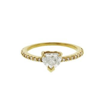 Solitaire Diamond Heart Pinky Ring - Yellow Gold
