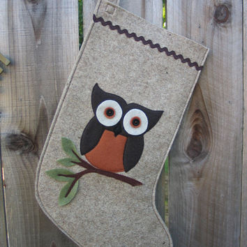 Wool Felt Ecofelt Christmas Stocking Woodland Owl by echoshop