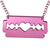 Laser Cut Acrylic Razorblade Necklace in Pink Mirror, Razor Blade, Emo