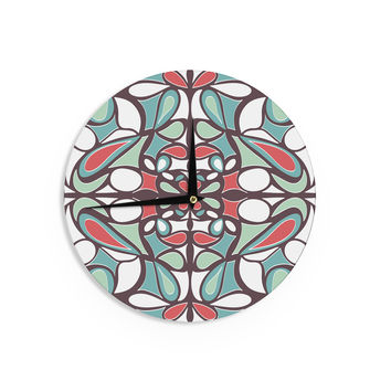 "Miranda Mol ""Brown Round Tiles"" Wall Clock"