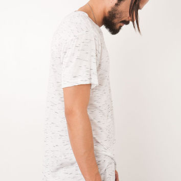 DRAPE KNIT CURVED HEM TALL TEE WHITE
