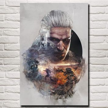 FOOCAME The Witcher 3: Wild Hunt Geralt of Rivia Game Art Silk Poster Prints Home Wall Decor Painting 12x18 24x36 Inches