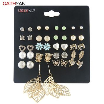 OATHYAN 20Pairs/Set Punk Trendy Stud Earrings Set For Women Cute Simulated-pearl Crystal Metal Mixed Earrings Jewelry 3 Style