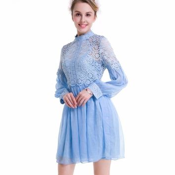 Women Lace and Chiffon Patchwork Mini Dress Blue Pink Solid Color Long Sleeve Girls Lolita Casual Spring Summer Dresses Tunics