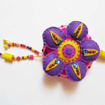 Felt Mandala Mobile, Purple Pink Wall decor, Hanging Mandala Ornament, Spiritual Wall Art, Yoga studio Decor, Nursery room Wall decor