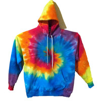 Tie Dye Hoodie Sweatshirt - Rainbow Spiral - 100% Heavyweight Cotton with Drawstring hood