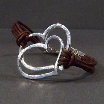Leather Bracelet With Sterling Silver Heart Charm