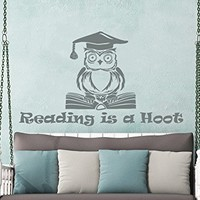 Wall Decals Quotes Vinyl Sticker Decal Quote Owl Reading is a Hoot Nursery Baby Room Kids Boys Girls Home Decor Bedroom Art Design Interior NS694