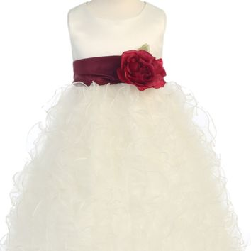 Ivory Satin & Layers of Organza Ruffles Blossom Flower Girl Dress (Girls 12 months - Size 12)