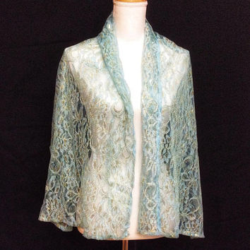 Aquamarine Wedding Shawl, Long Lace Cover up, Large Lace Scarves Wedding Cape, Aqua shawl for Mother of the bride, Oversize Lace Capelet