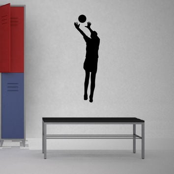 Volleyball Wall Sticker Decal - Male Defense Player Blocking Silhouette Decoration - #6