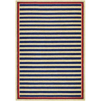 Couristan Covington Nautical Stripes Rug In Navy-Red