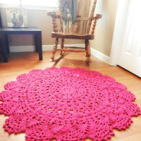 Giant Crochet Doily Rug - Magenta- Hot Pink Lace -large area rug- Handmade- Cottage Chic- Oversized- Shabby Chic Rug, Round rug