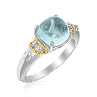 18K Yellow Gold & Sterling Silver Square Polished Blue Topaz and Diamond Ring: Size 7