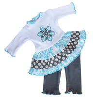 Blue Damask Snowflake Doll Outfit Fits American Girl