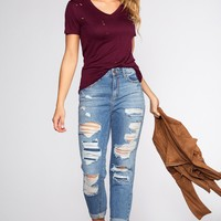 Eliana Distressed Girlfriend Jeans