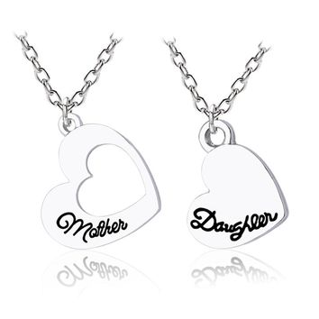 Trendy Love Heart Necklace Mother Daughter Hollow Hearts Pendant Family Silver Necklaces&Pendants For Women Gifts Drop Shipping