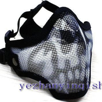 Tactical Hunting Mask Metal Steel Wire Half Face Mesh Airsoft Mask (black skull) -Free shipping
