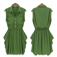 Womens ARMY-GREEN CHIFFON DRESS WITH BELT
