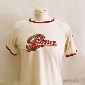 Retro 80s PUMA cotton t-shirt small men Vintage men sports tshirt 80s 90s men tshirt