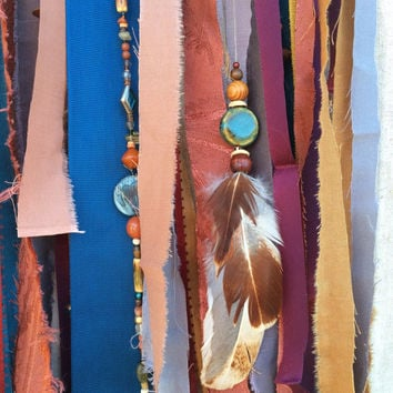 Large Free Spirit, Wild, and Colorful Handmade Gypsy Dream Catcher- with Feathers