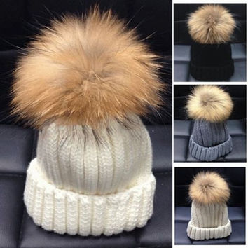 Europe style Fashion Winter Hats man and women Cute 15cm Big Raccoon Fur Ball warm knitted Hats = 1932634500