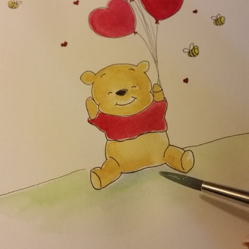Winnie the Pooh Love. Watercolor. Nursery Art by SoulKidZ