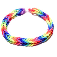 Fishtail Rainbow Loom Bracelet, Rainbow Rubber Band Bracelet - Fishtail Style Rainbow Loom Friendship Bracelet