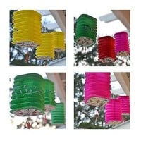 3 Square Asian Style Chinese Fan Lanterns  Hanging Multi Color