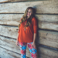 Relaxed 3/4 Sleeve Top in Rust