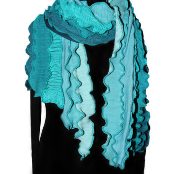 Scarf, Teal with Teal Seams