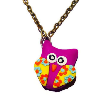 Owl Necklace Purple Owl Pendant Mini Owl Necklace Polymer Clay Owl Necklace Teen Girl Necklace Owl Charm Bird Charm Spring Jewelry Girl Gift