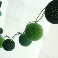 Green Mixed Cotton Lights Set  Hanging stringlights for party and home decoration indoor and outdoor (20 balls/pack)