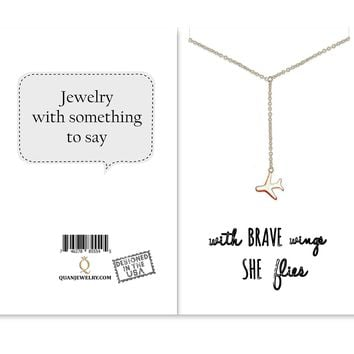 Corrine Freedom Lariat Necklace with Airplane Pendant for Women, Gift for Friends, comes with Inspirational Quote