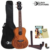 Luna Guitars Mahogany Mo'o Concert Ukulele w/ Tuner, Stand, Gig Bag, Cloth & Instruction Guide