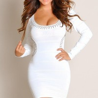 Designer Sexy Sophisticated Ivory Embellished Scoop-Neck Tight Bandage Dress