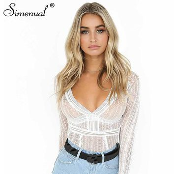 Simenual Backless long sleeve lace bodysuit women sexy hot bandage body jumpsuit see through slim white fitness bodysuits sale
