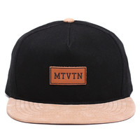 Leather Patch Strapback Hat Black / Suede