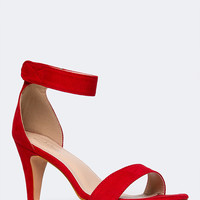 Sleek Red Suede Heels