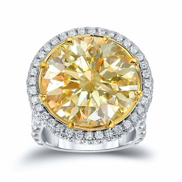 MD 18k Two-Tone Gold 22 1/ 2ct TDW Certified Yellow Diamond Halo Engagement Ring