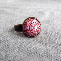 Red Etched Ring Red and White Lucite Adjustable Ring Mosaic Ring Cabochon Ring Adjustable Ring Gift For Her