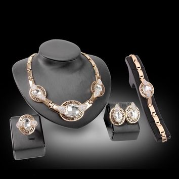 Crystal Jewelry Set Fashion Jewelry Sets For Wedding Women Ornamentation Round Pendant Necklace Earring Bracelet
